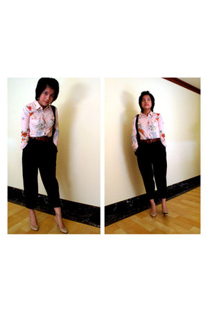 black vintage pants - beige FCUK shirt - beige Zara shoes - brown vintage belt