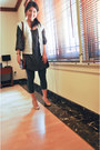 Zara-shoes-mango-dress-muji-leggings-vintage-bag-club-monaco-vest