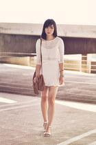 ivory lace crop Aeropostale top - brown suede Zara bag - ivory Nasty Gal skirt