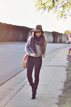 heather gray crop cableknit Sheinside sweater - dark gray blank nyc pants