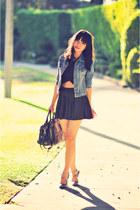 dark gray polka dot skirt brandy melville skirt - black crop Nameless top