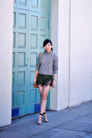 olive green lace Missguided shorts - heather gray cable knit Sheinside sweater