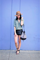 light brown wool H&M hat - olive green button-up H&M shirt