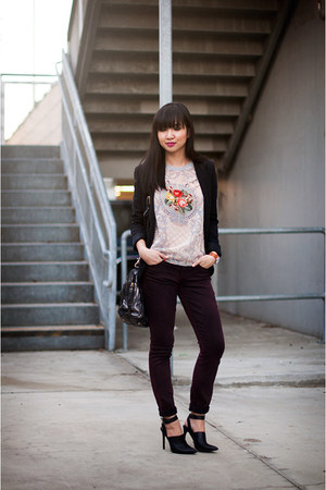 crimson skinny Articles of Society jeans - silver graphic t-shirt