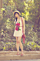 red rosebud print Motel Rocks dress - fringed suede Miss Selfridge bag