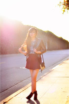 blue plaid JACHS Girlfriend shirt - brick red corduroy American Apparel skirt