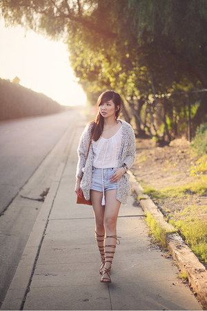 light blue One Teaspoon shorts - heather gray boucle Zara cardigan