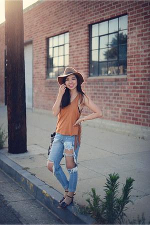 burnt orange fringed Forever 21 top - light brown H&M hat
