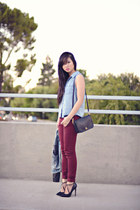 light blue denim Forever 21 shirt - brick red bordeaux Zara jeans