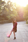 Bubble-gum-floral-lucca-couture-dress-brick-red-fluffy-ladakh-sweater