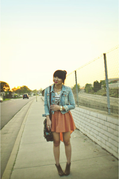 peach Audrey 31 skirt - Gap boots - denim H&amp;M jacket