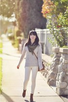 silver Forever 21 sweater - ivory Mango jeans