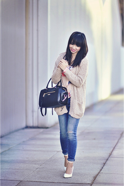 beige cozy Forever 21 sweater - blue CurrentElliott jeans
