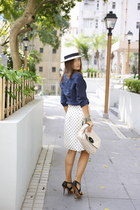 dark green Zara belt - black Uterque shoes - white Panama hat