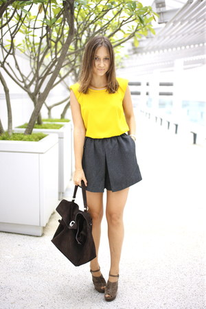 mustard Zara top - olive green asos shoes - dark brown YSL bag