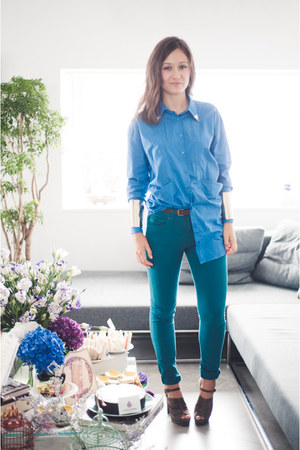 asos jeans - asos shirt - cuffs asos bracelet - asos heels - asos accessories