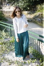 Dark-green-zara-skirt-silver-h-m-jumper-mustard-raybans-glasses