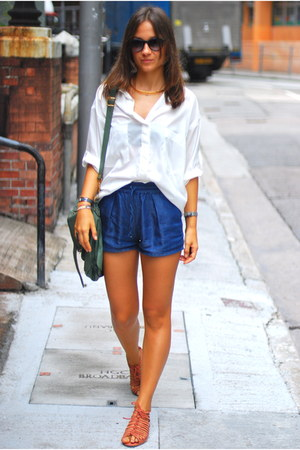 gold H&M necklace - ivory Zara shirt - teal PS1 bag - blue Zara shorts