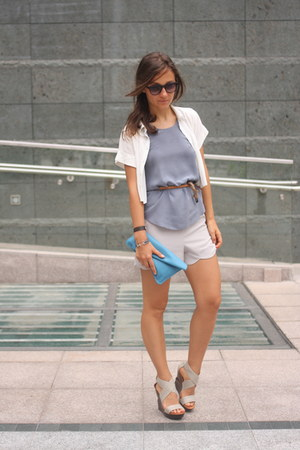white Initial shirt - silver asos shorts - periwinkle Club Monaco top - bronze Z