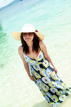blue dress - orange Ripcurl swimwear - brown glasses - yellow hat