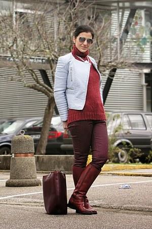 crimson tall flat boots Zara boots - light blue Zara jacket
