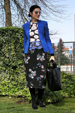 black Zara bag - blue Mango blazer - Massimo Dutti sunglasses
