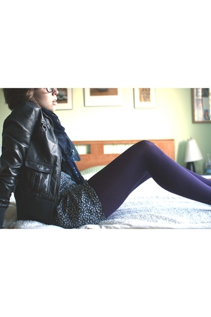 purple tights - black dress - gray jacket - blue scarf - black shoes