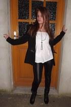 black oxford booties Wiele boots - black shiny leggings XL FASHION leggings