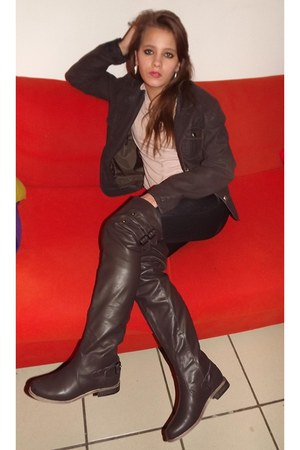 dark brown brown suede Miss Talentino jacket - crimson Catisa boots