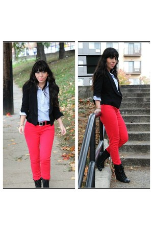 striped Forever 21 shirt - jegging American Eagle jeans