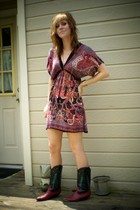 Angie dress - thrifted boots - Claires necklace - Simply Steel bracelet