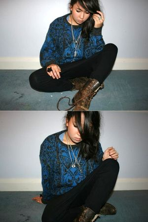 black American Apparel pants - blue vintage sweater