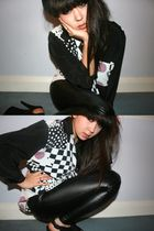 black Topshop pants - black vintage shirt