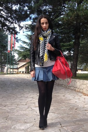 black Zara jacket - black Bata shoes - white Zara sweater - yellow Zara scarf