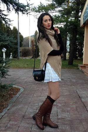 white H&M dress - brown cinti boots - black sweater - black the manual co bag