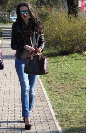 brown Accessorize scarf - blue Esprit jeans - black Zara jacket