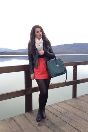 carrot orange Zara skirt - black boots - black Zara jacket - teal bag