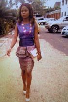 deep purple peplum skirt - bronze peplum skirt - bronze straw new look purse