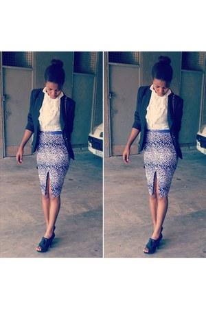 slit ankara DIY skirt - Mischa Barton blazer - ruffled TDA blouse