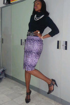 ankara skirt - cross shoes - J Crew sweater - embellished belt - necklace