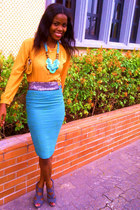 bodicon skirt - mustard yellow shirt - turquoise necklace - turquoise belt