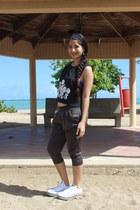 black Burlington blouse - charcoal gray Ebay pants - ivory Converse sneakers