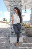 off white Marshalls blouse - heather gray Forever 21 pants