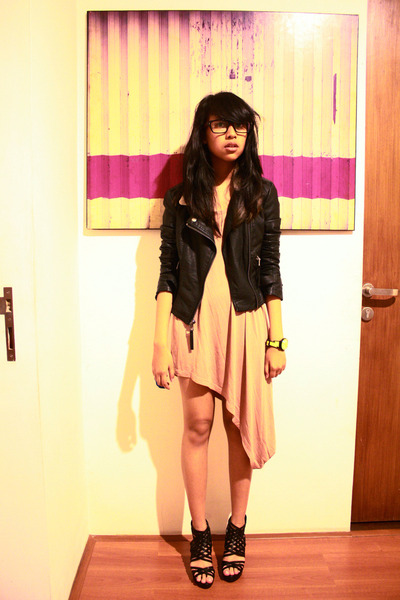 Monki dress - leather jacket Topshop jacket - staccato wedges - Swatch watch