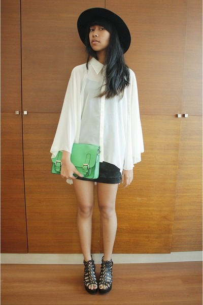 Monki hat - H&M blouse - H&M wedges