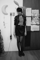 Dr Martens boots - sequins cotton on jacket - none tights - stripes H&M t-shirt