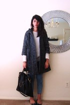 dark gray H&M coat - off white vintage sweater - black coach flats