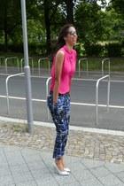 hot pink polyester H&M shirt - navy cotton H&M pants - white cotton H&M pants