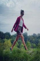maroon H&M blazer - white polyseter Mango blouse - black H&M skirt