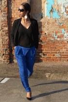 black H&M blazer - black polyester Mango blouse - navy Zara pants